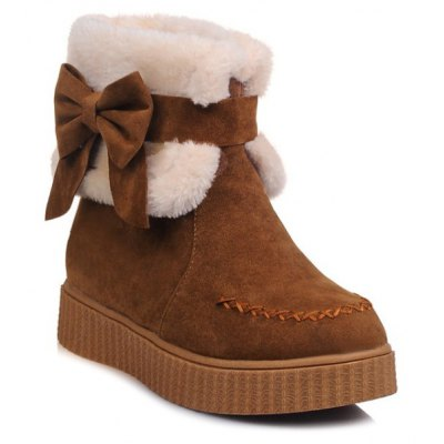 Faux Fur Bow Stitching Snow Boots