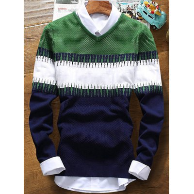 V Neck Contrast Color Texture Sweater