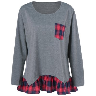 Plus Size Plaid Flounced T-Shirt