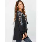 best Tiny Floral Embroidery Peasant Blouse