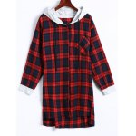 Plaid Button Up Panel Hoodie