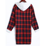 cheap Plaid Button Up Panel Hoodie