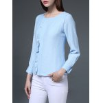 cheap Jewel Neck Flounced Chiffon Blouse