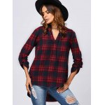cheap V Neck Checked Blouse