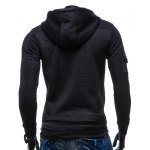 Zippered Pocket Drawstring Quilted Hoodie deal