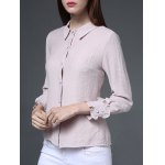 cheap Long Sleeves Button Chiffon Shirt