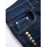 Button Embellished Zip Fly Jeans in Taper Fit for sale