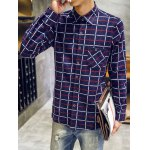 Turndown Collar Checked Print Flocking Shirt deal