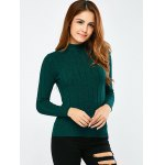 cheap Mock Neck Ribbed Pullover Sweater