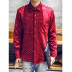 cheap Turndown Collar Moustache and Tobacco Pipe Print Flocking Shirt