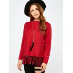 cheap Crew Collar Fringe Pullover Sweater
