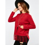 Crew Collar Fringe Pullover Sweater deal