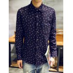 cheap Turndown Collar Feather and Ink Dot Print Flocking Shirt