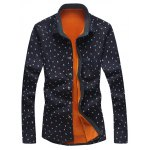 Turndown Collar Feather and Ink Dot Print Flocking Shirt