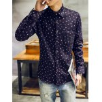 Turndown Collar Feather and Ink Dot Print Flocking Shirt deal