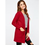 cheap Open Front Pocket Hooded Cardigan
