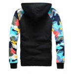 cheap Camouflage Splicing Zip Up Flocking Hoodie