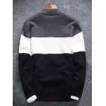 cheap Stand Collar Color Block Rib Splicing Knit Blends Jacket
