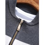 Stand Collar Color Block Rib Splicing Knit Blends Jacket deal