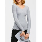 Flounce Ribbed Sweater 11027
