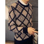 cheap Textured Crew Neck Argyle Pullover Sweater