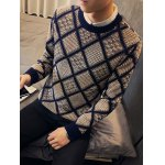 Textured Crew Neck Argyle Pullover Sweater deal
