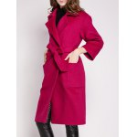 cheap Lapel Wool Warp Coat With Pocket