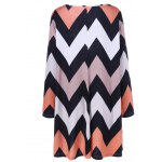 cheap Plus Size Zigzag Loose Casual Shift Dress