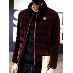cheap Zip Up Stand Collar Logo Quilted Jacket