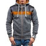 cheap PU Leather Spliced Color Block Hoodie
