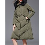 Velour Down Coat With Faux Fur Hooded
