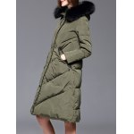 Velour Down Coat With Faux Fur Hooded deal
