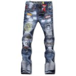Zipper Fly Bleach Wash Patch and Holes Design Jeans