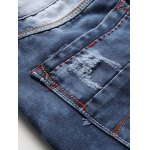 Zipper Fly Bleach Wash Patch and Holes Design Jeans for sale