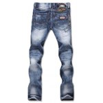 cheap Zipper Fly Bleach Wash Patch and Holes Design Jeans