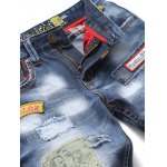 Zipper Fly Bleach Wash Patch and Holes Design Jeans deal