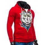 cheap Cartoon Lion Print Drawstring Flocking Hoodie