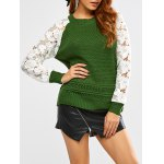 Floral Lace Insert Chunky Sweater