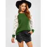 cheap Floral Lace Insert Chunky Sweater