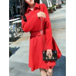 cheap Pocket Fit and  Flare Coat With Belt