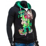 cheap Cartoon Figure Print Drawstring Flocking Green Hoodie