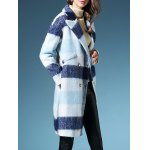 cheap Checked Long Wool  Coat