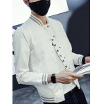 Button Up Letter Printed Stand Collar Jacket deal