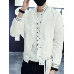 cheap Button Up Letter Printed Stand Collar Jacket