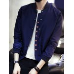 Button Up Letter Printed Stand Collar Jacket
