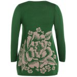 cheap Longline Floral Print Plus Size Sweater