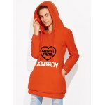 cheap Drawstring Flocking Letter Pattern Hoodie