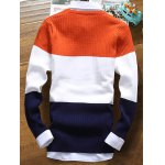cheap Color Striped Ribbed Texture Sweater