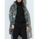 cheap Hooded Lengthen Flocking Zip Up Camouflage Coat