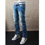 cheap Straight Leg Dyed Distressed Jeans